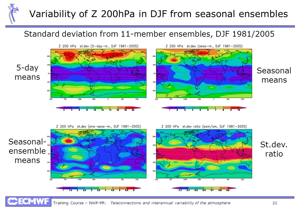 Variability of Z 200hPa in DJF from seasonal ensembles