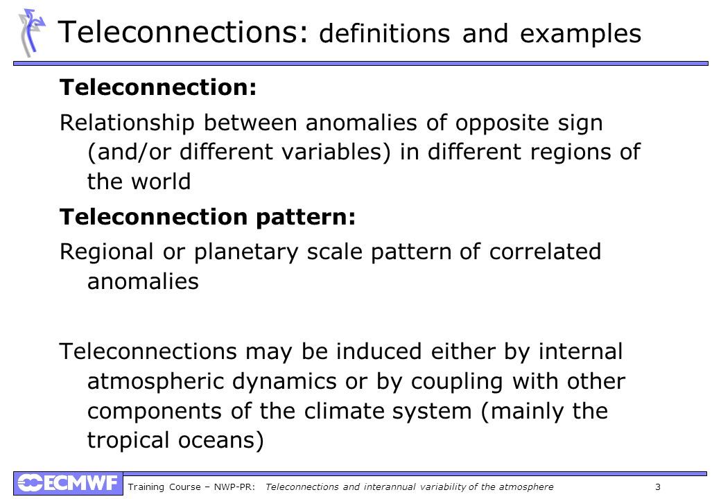 Teleconnections: definitions and examples