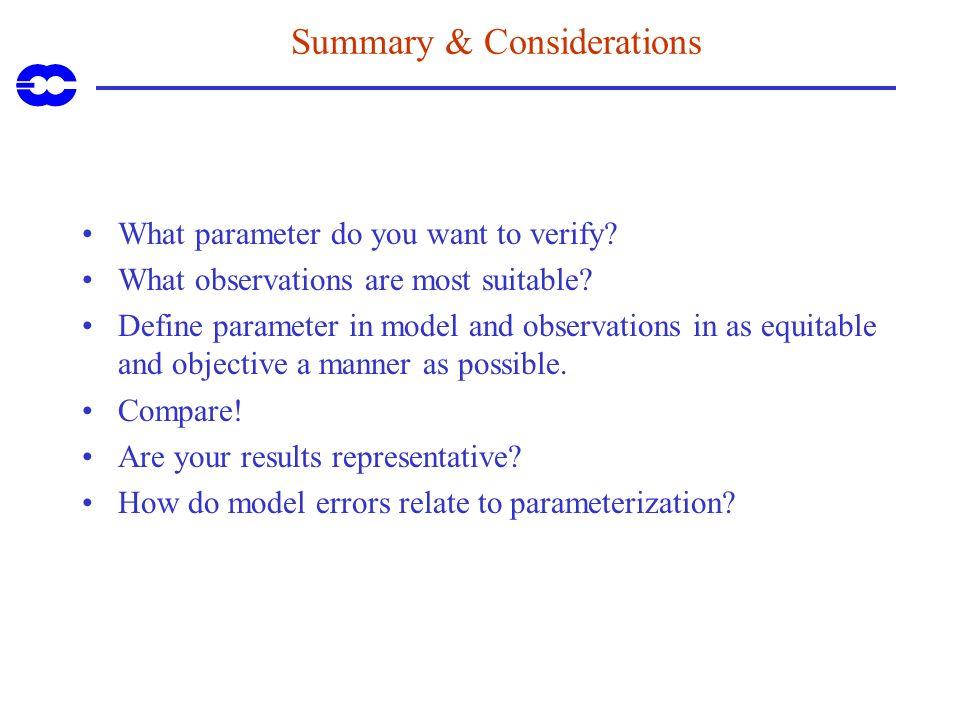 Summary & Considerations