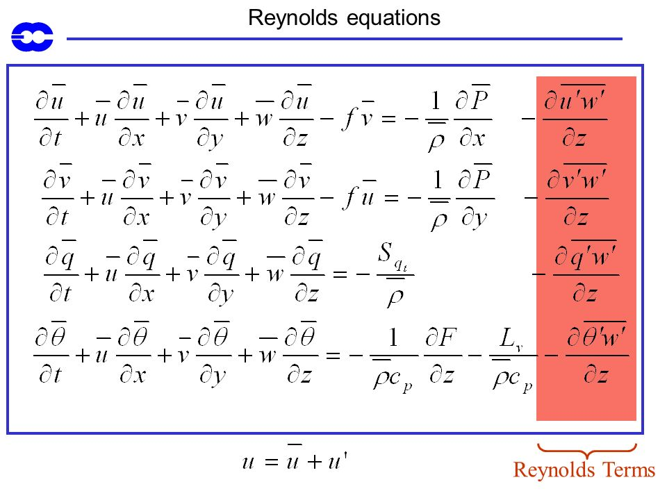 Reynolds equations Reynolds Terms
