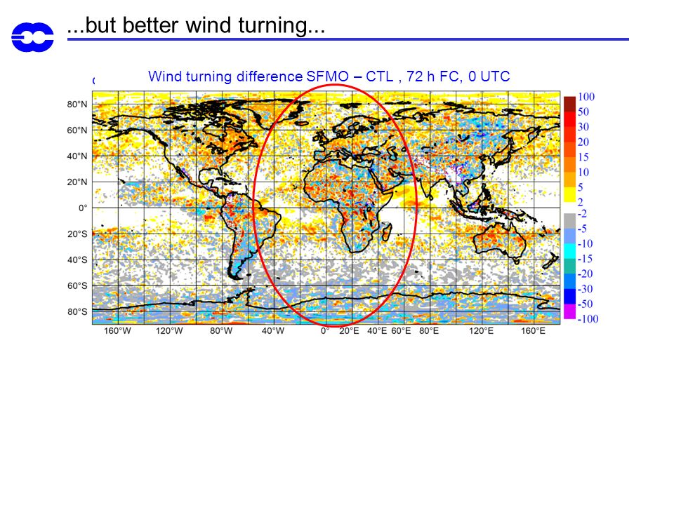 Wind turning difference SFMO – CTL , 72 h FC, 0 UTC