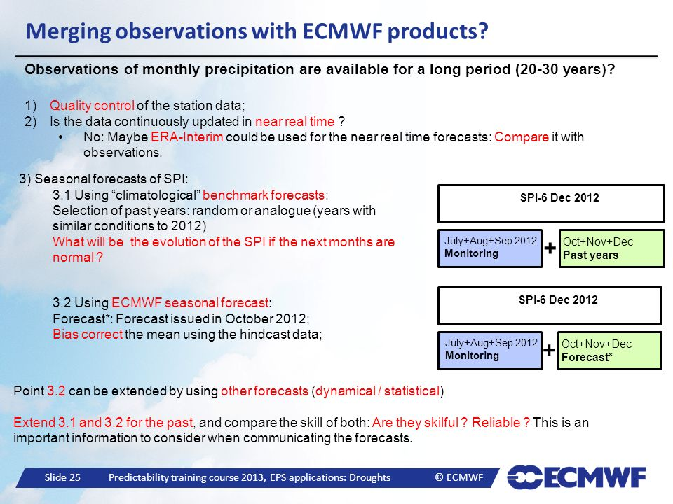 Merging observations with ECMWF products