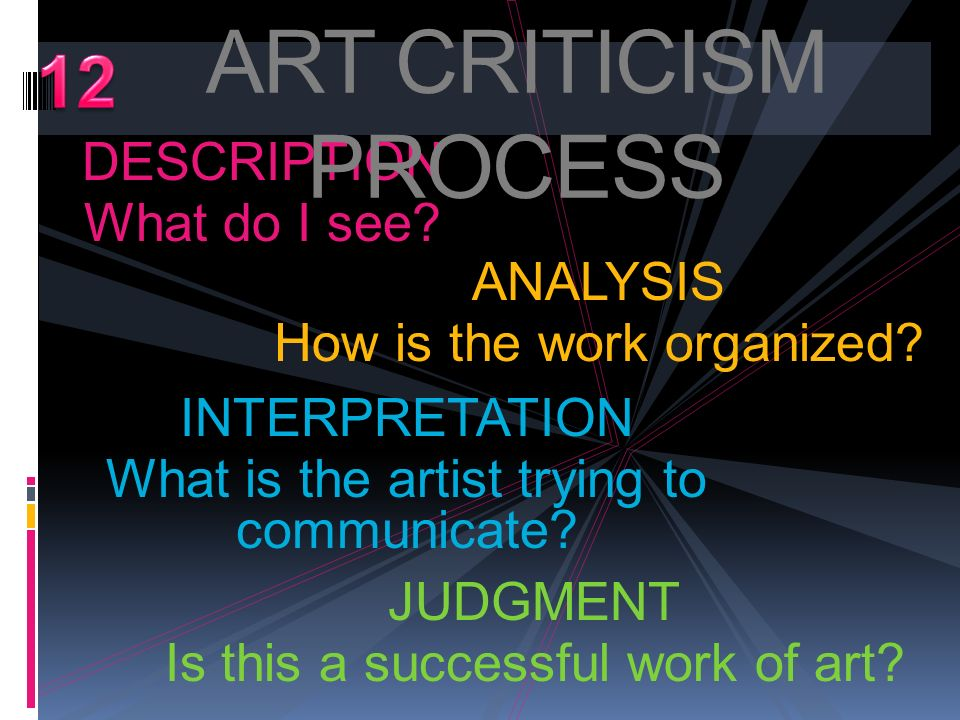 ART CRITICISM PROCESS 12 DESCRIPTION What do I see ANALYSIS