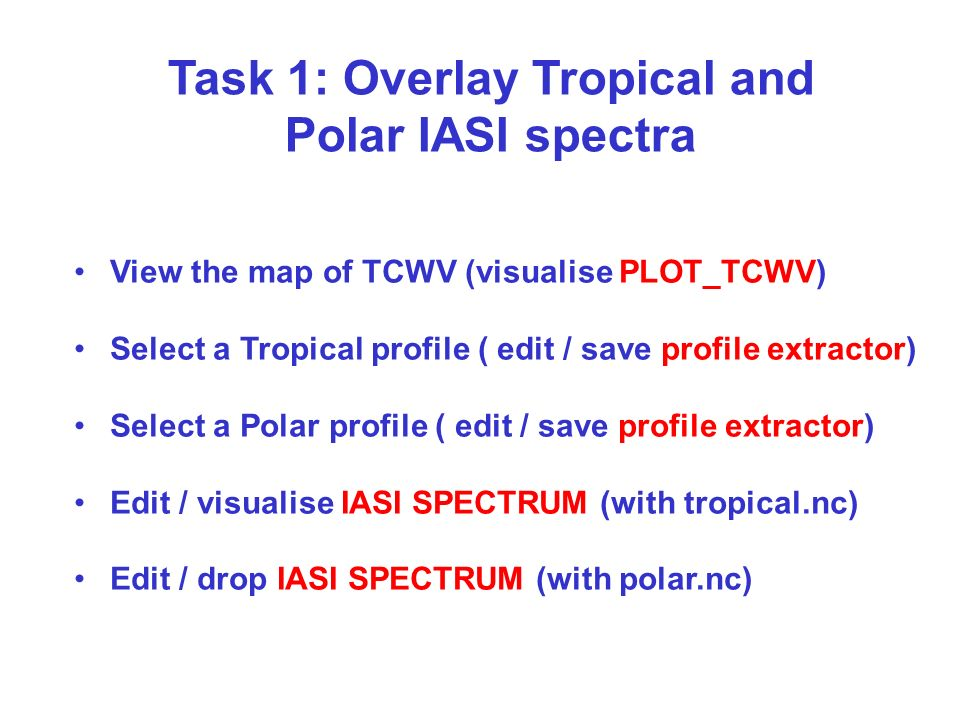 Task 1: Overlay Tropical and Polar IASI spectra