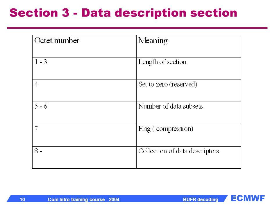 Section 3 - Data description section