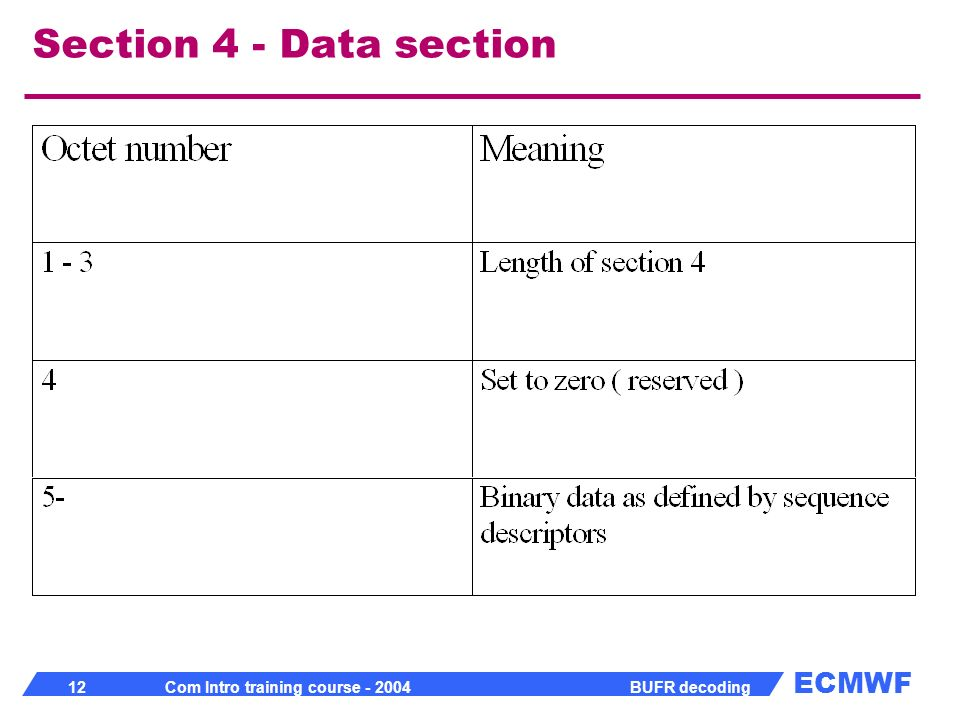 Section 4 - Data section