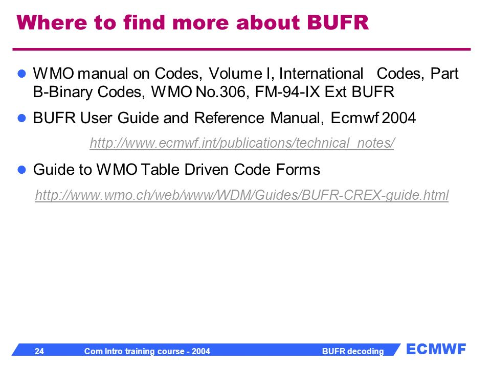 Where to find more about BUFR