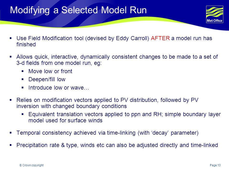 Modifying a Selected Model Run
