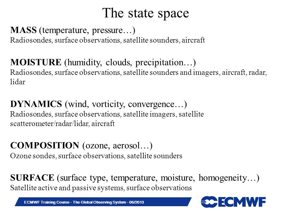The state space MASS (temperature, pressure…)