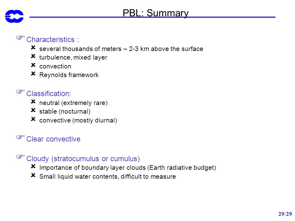 PBL: Summary Characteristics : Classification: Clear convective
