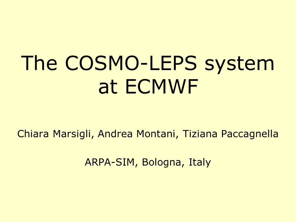 The COSMO-LEPS system at ECMWF