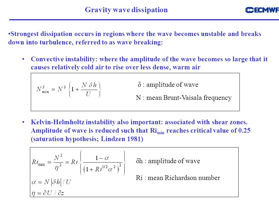 Gravity wave dissipation