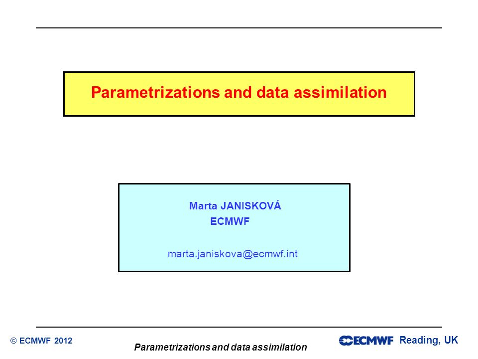 Parametrizations and data assimilation