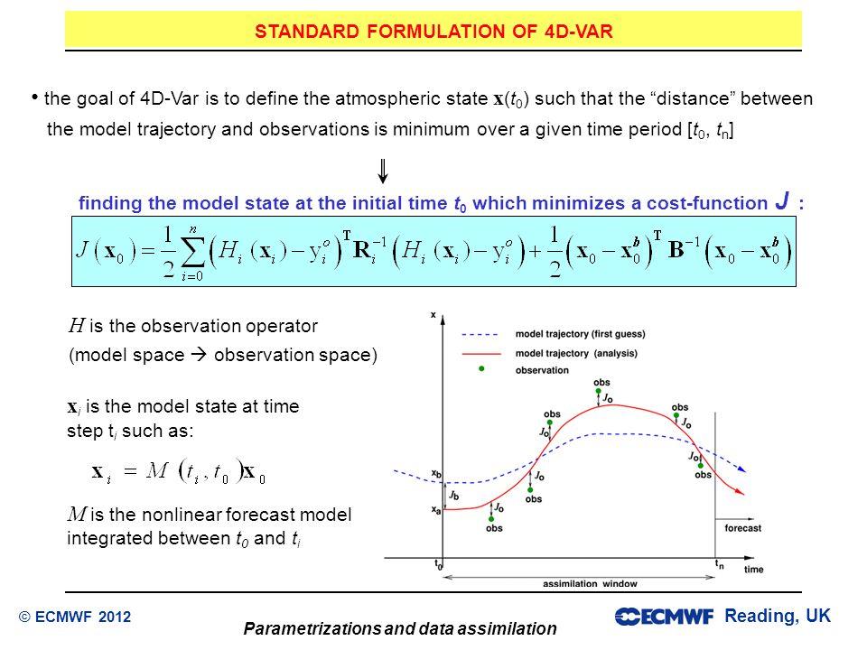 STANDARD FORMULATION OF 4D-VAR