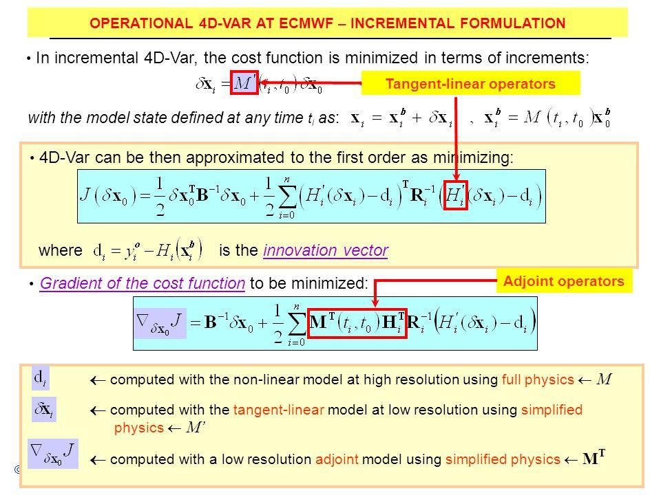 OPERATIONAL 4D-VAR AT ECMWF – INCREMENTAL FORMULATION