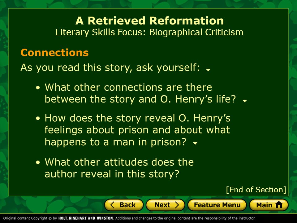literary criticism of a retrieved reformation Erica has taught college english writing and literature courses and has a master's degree in a retrieved reformation takes place in a time theme & analysis 5:52.