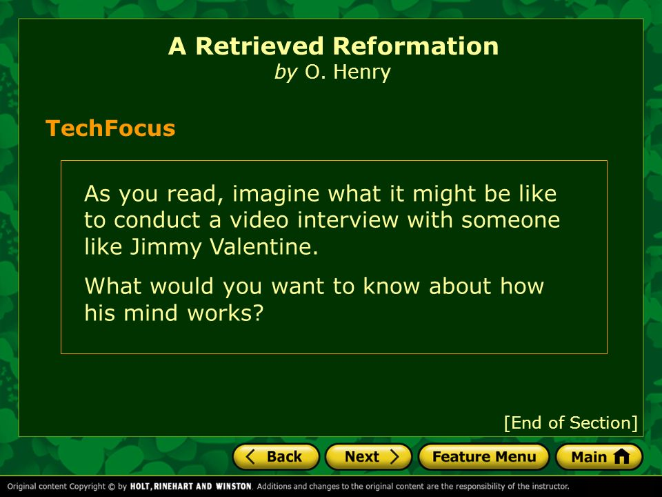 a retrieved reformation o henry A retrieved reformation by o henry a guard came to the prison shoe-shop, where jimmy valentine was assiduously stitching uppers, and escorted him to the front office.