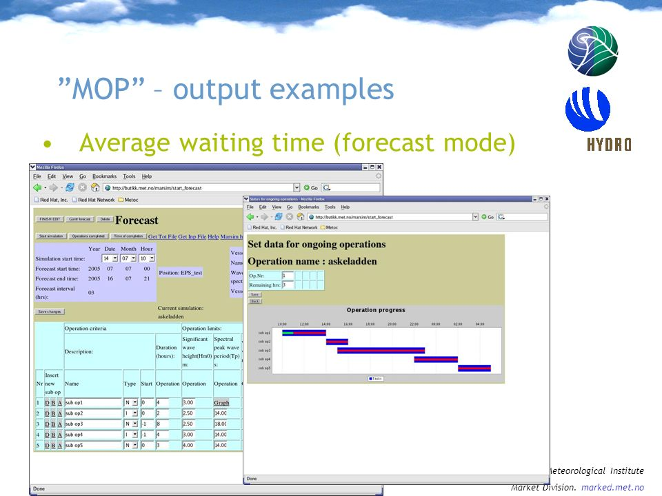MOP – output examples
