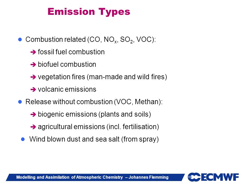 Emission Types Combustion related (CO, NOx, SO2, VOC):