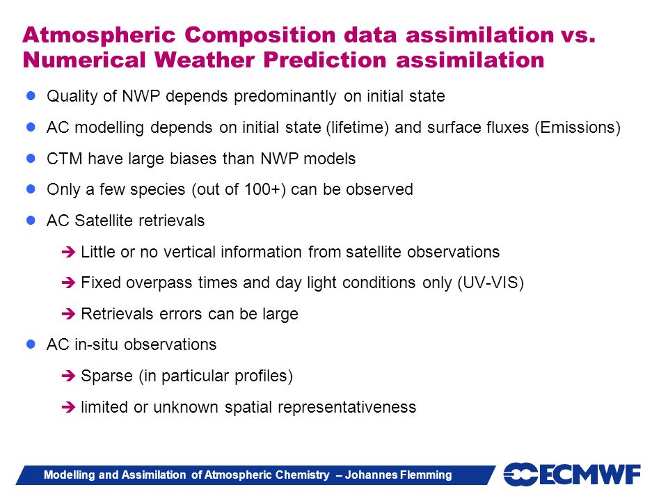 Atmospheric Composition data assimilation vs