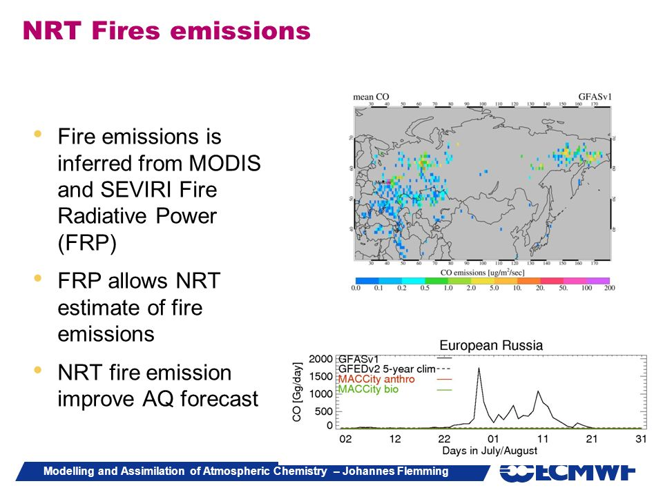 NRT Fires emissions Fire emissions is inferred from MODIS and SEVIRI Fire Radiative Power (FRP) FRP allows NRT estimate of fire emissions.