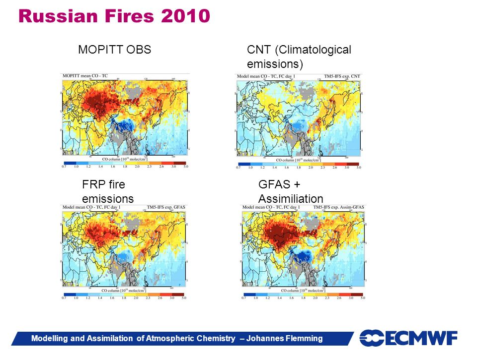 Russian Fires 2010 MOPITT OBS CNT (Climatological emissions)
