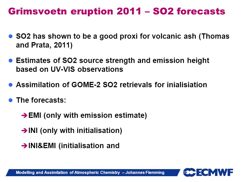 Grimsvoetn eruption 2011 – SO2 forecasts