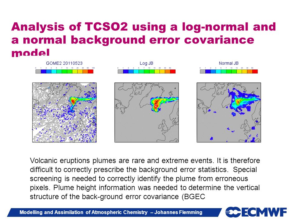 Analysis of TCSO2 using a log-normal and a normal background error covariance model