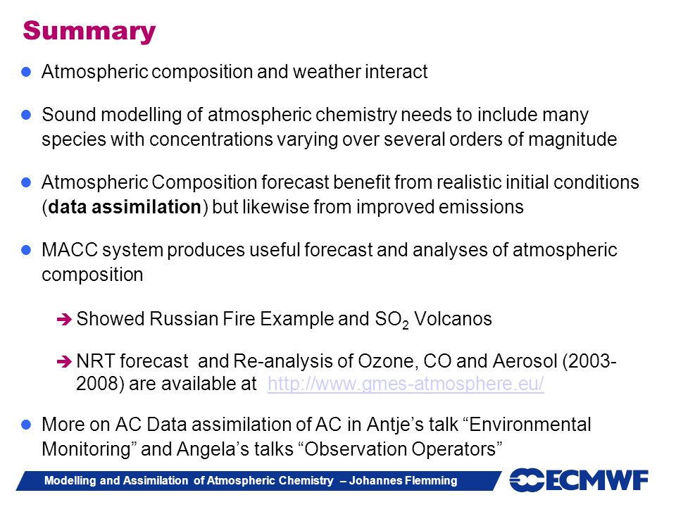 Summary Atmospheric composition and weather interact