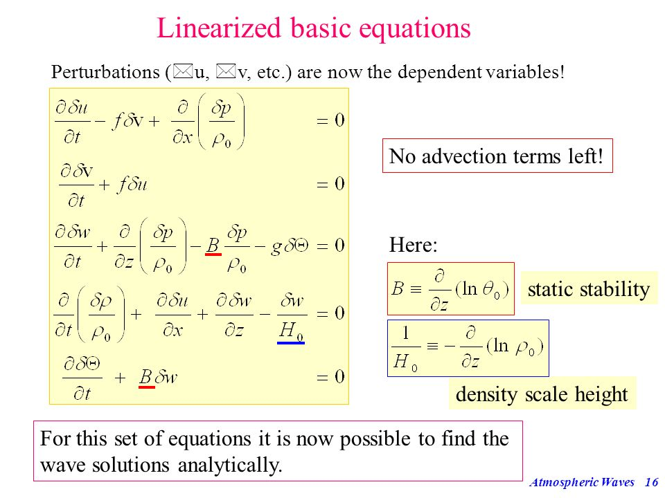 Linearized basic equations