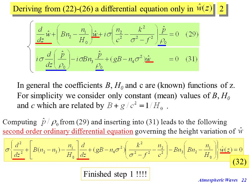 Deriving from (22)-(26) a differential equation only in 2