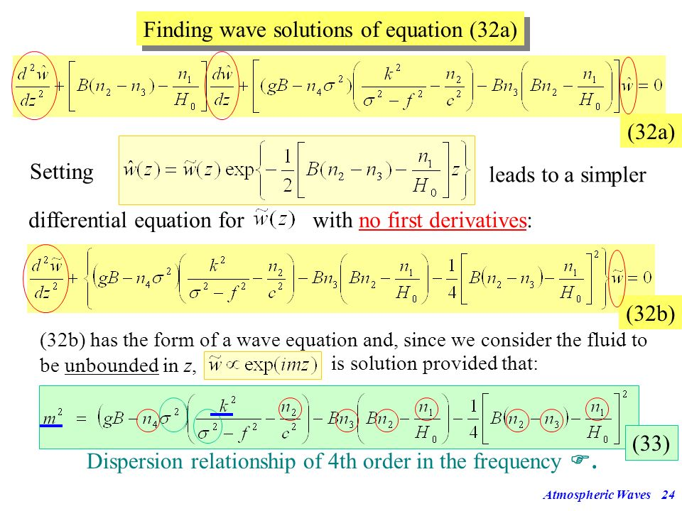 Finding wave solutions of equation (32a)