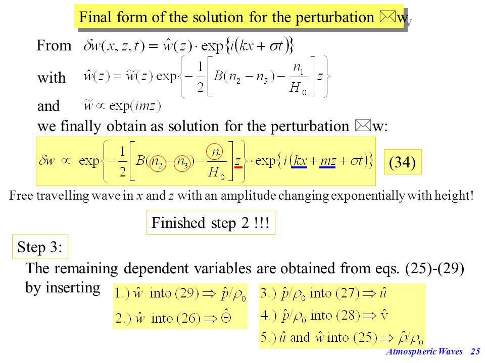 Final form of the solution for the perturbation w