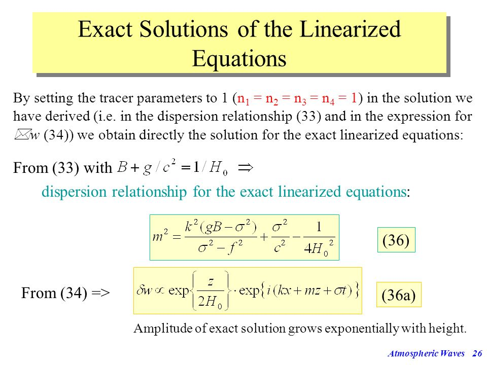 Exact Solutions of the Linearized Equations
