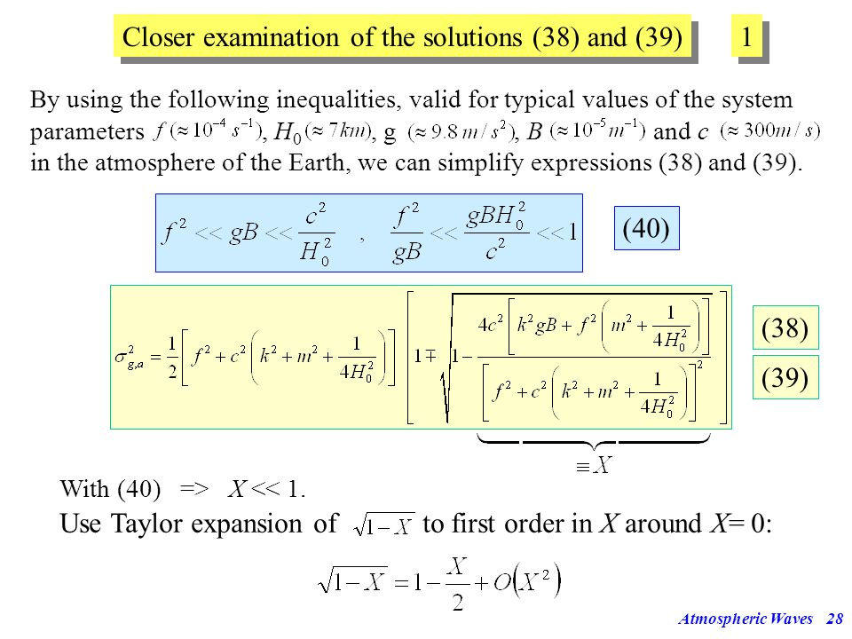 Closer examination of the solutions (38) and (39) 1
