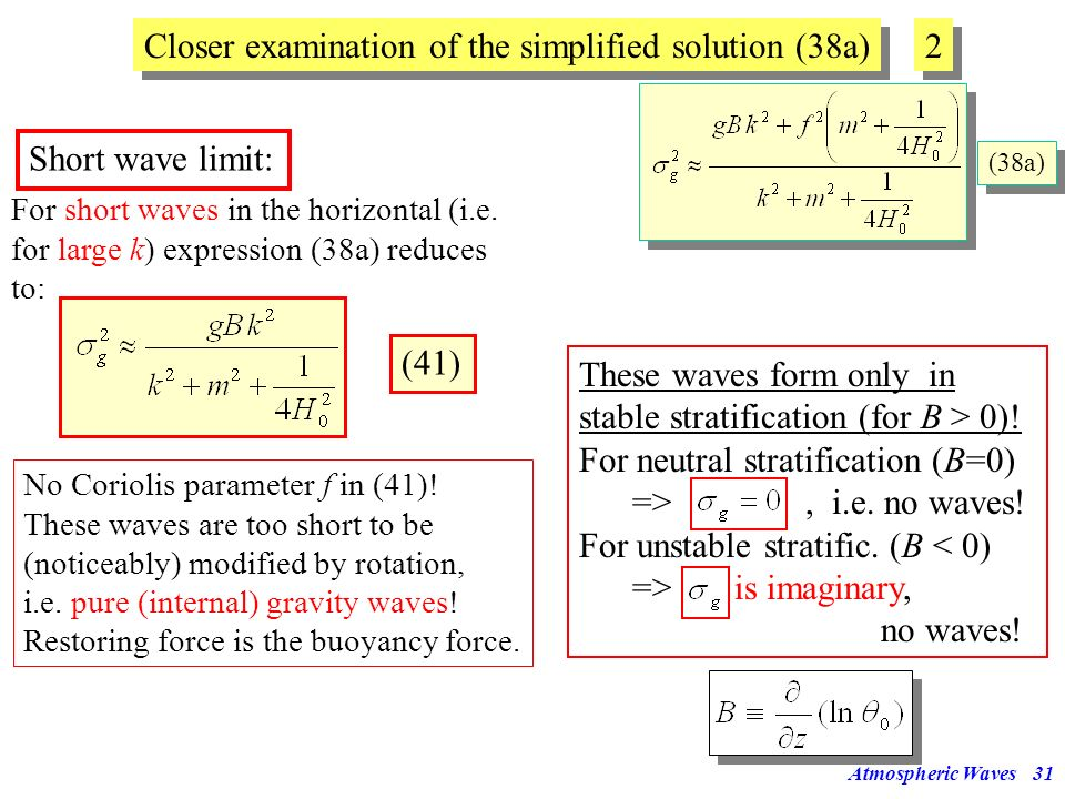 Closer examination of the simplified solution (38a) 2