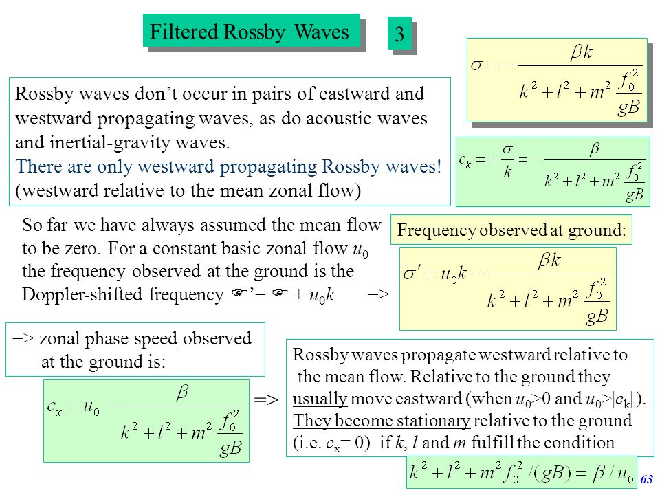 Filtered Rossby Waves 3 =>