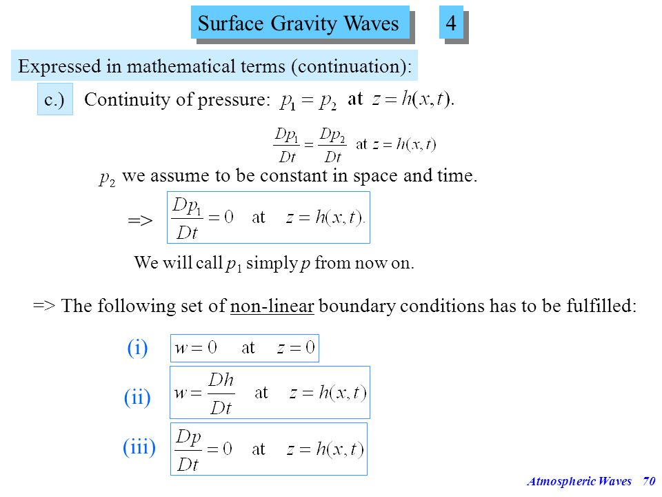 Surface Gravity Waves 4 => (i) (ii) (iii)
