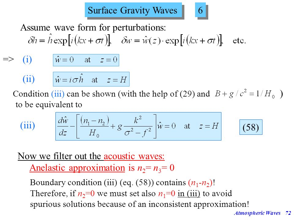 Assume wave form for perturbations: