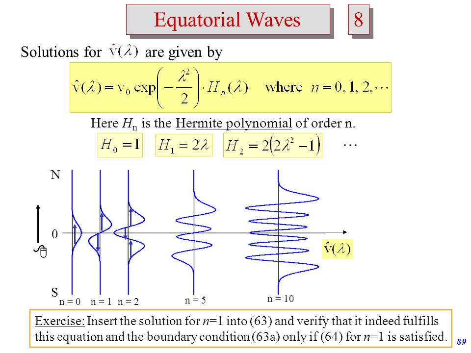 8 Equatorial Waves Solutions for are given by 