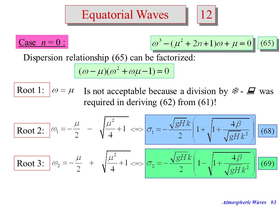 12 Equatorial Waves Case n = 0 :
