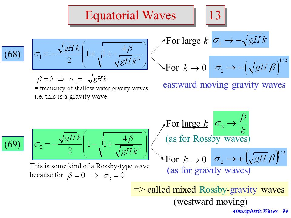 13 Equatorial Waves For large k (68) For eastward moving gravity waves