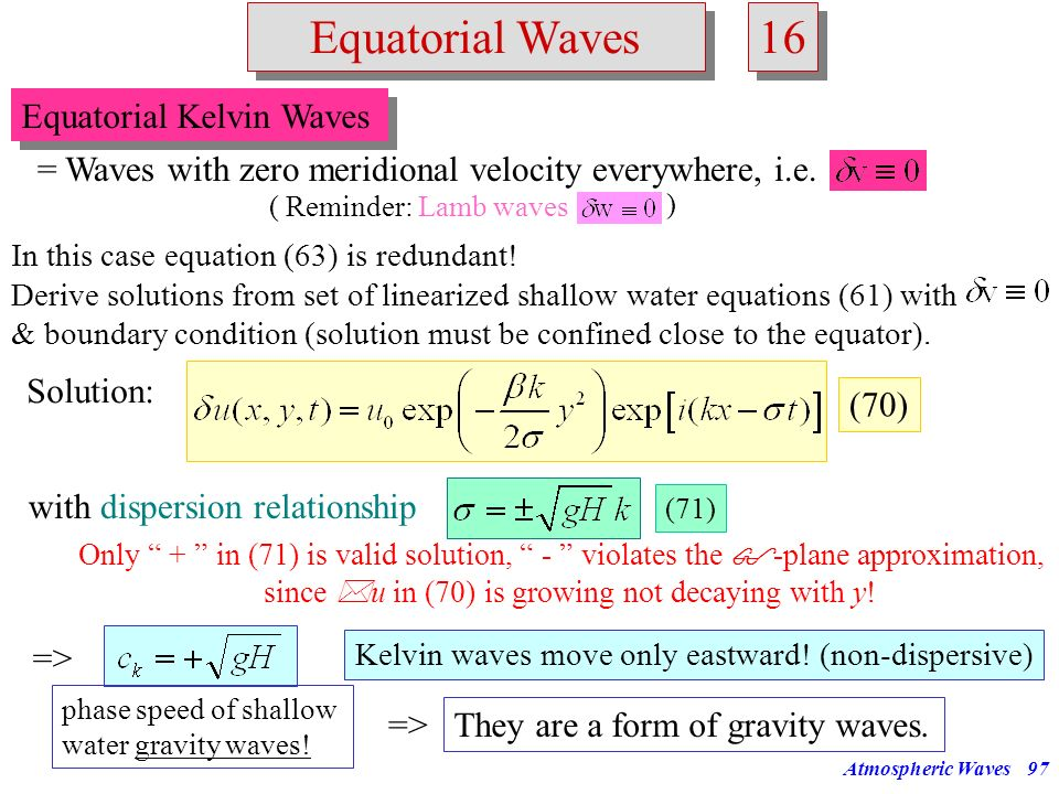 16 Equatorial Waves Equatorial Kelvin Waves