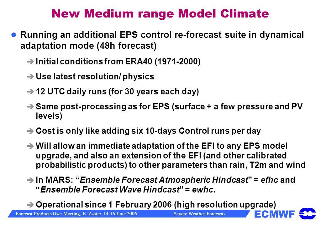 New Medium range Model Climate