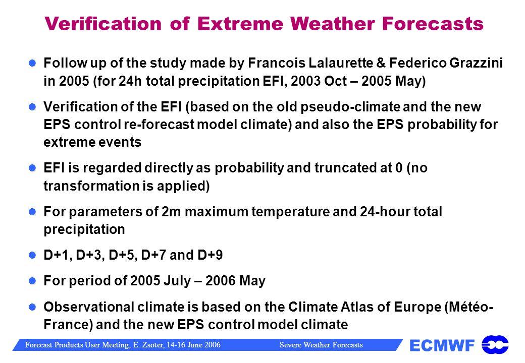 Verification of Extreme Weather Forecasts