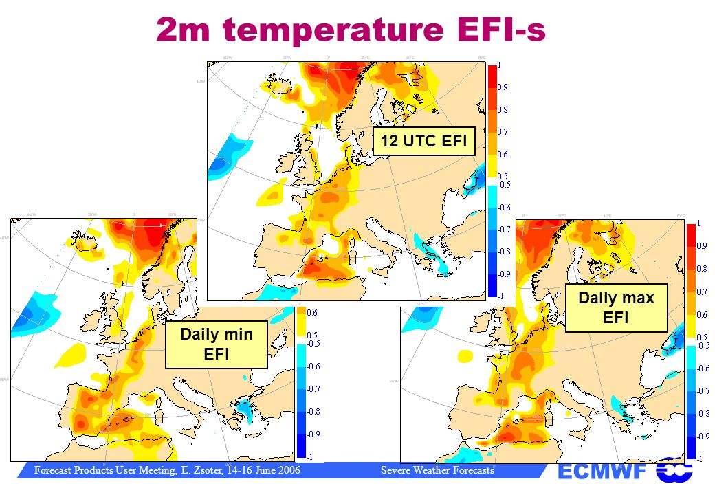 2m temperature EFI-s 12 UTC EFI Daily max EFI Daily min EFI