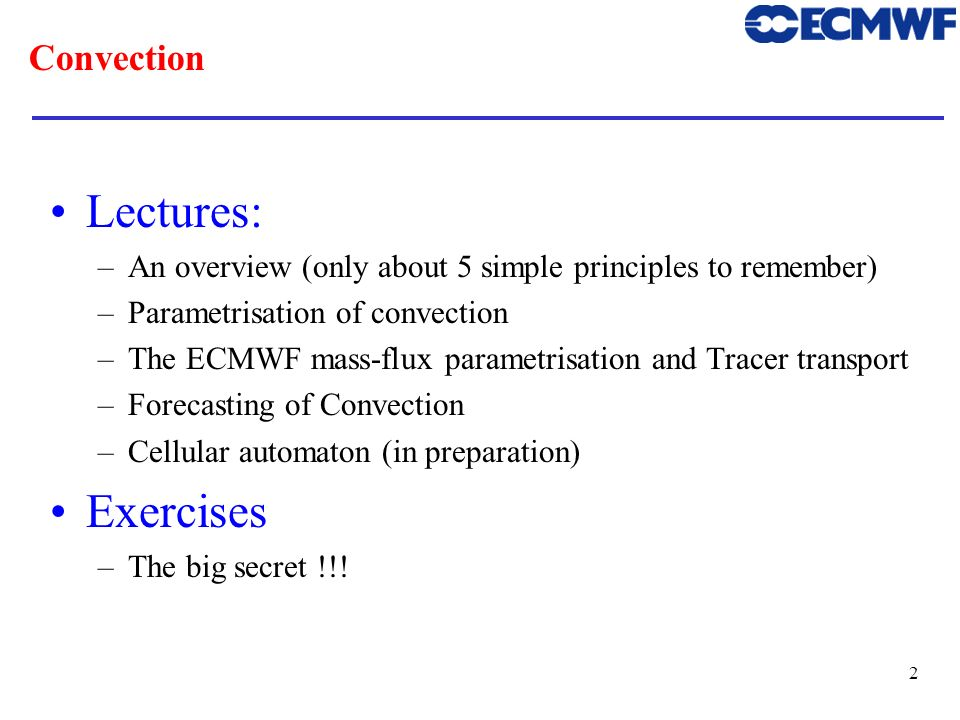 Lectures: Exercises Convection