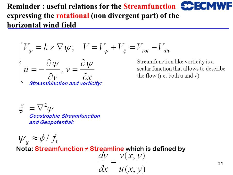Reminder : useful relations for the Streamfunction expressing the rotational (non divergent part) of the horizontal wind field