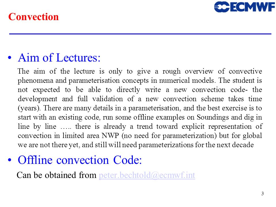 Offline convection Code: