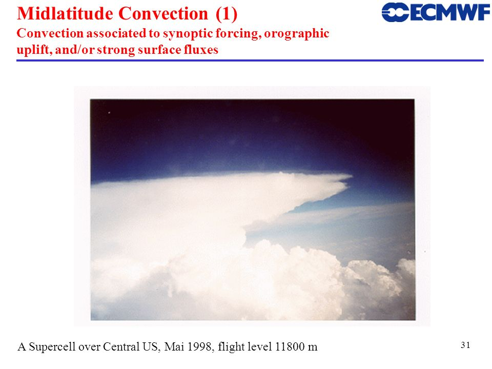 Midlatitude Convection (1) Convection associated to synoptic forcing, orographic uplift, and/or strong surface fluxes